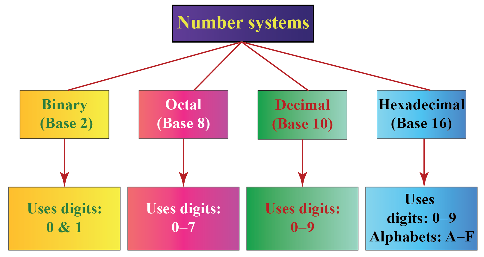 Number systems chart showing binary number system, octal number system, decimal number system and hexadecimal number system.