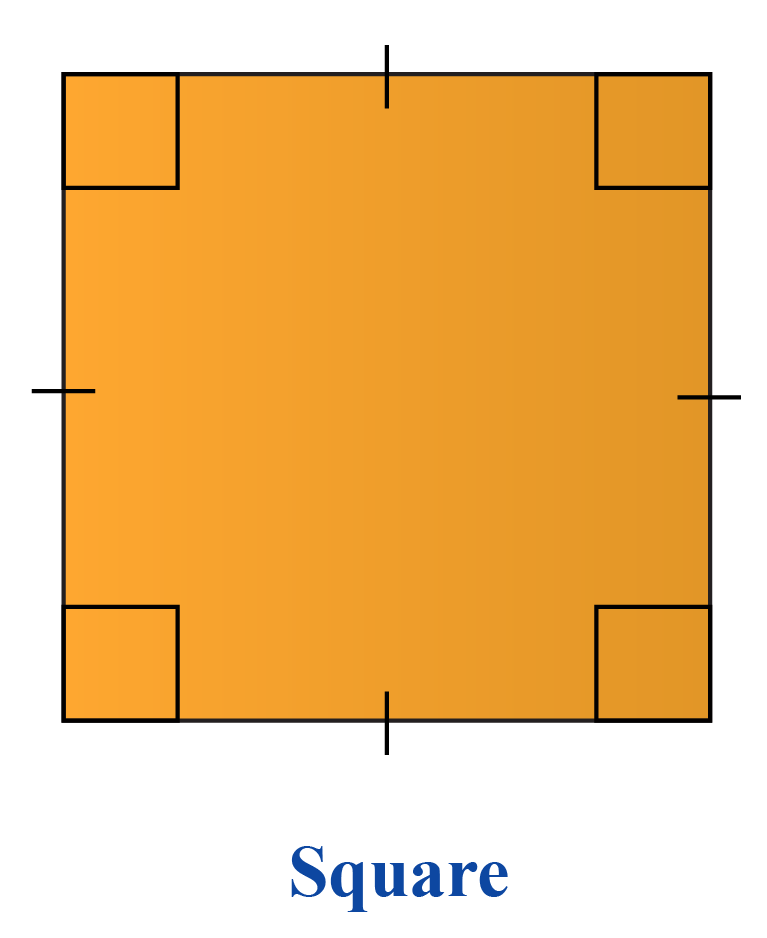 Square has a perpendicular shape.
