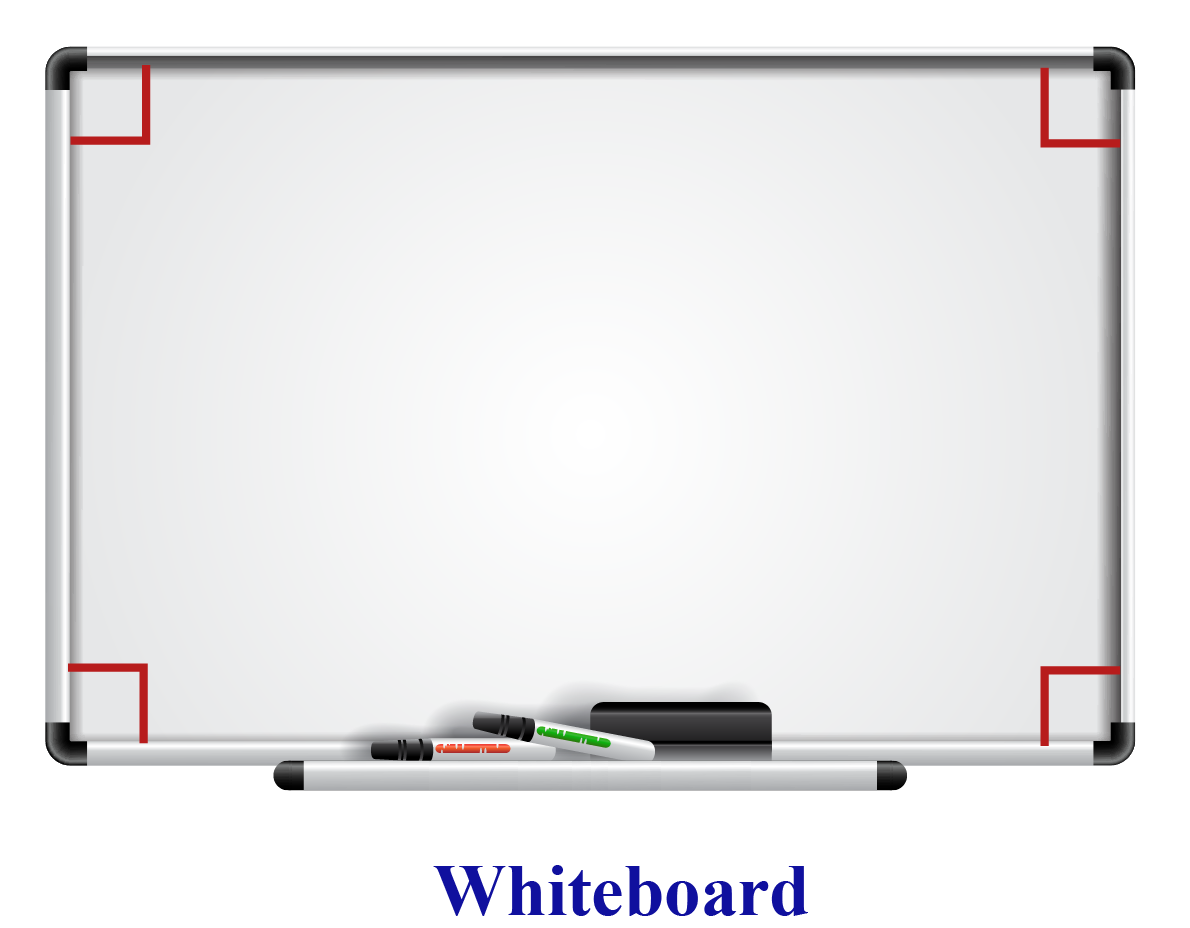 Real-life examples of a perpendicular include a white board with right angles at its corners.