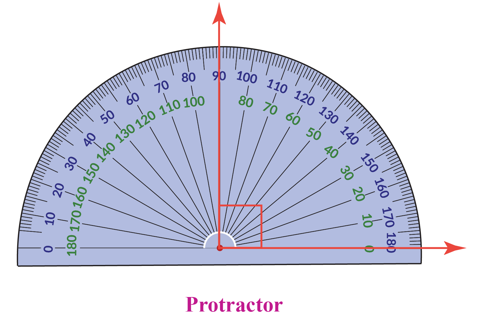 Real-life examples of a perpendicular include a protractor showing 90 degrees.