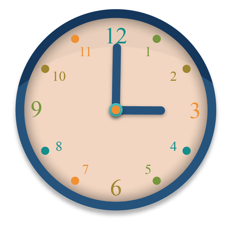 Perpendicular solved examples: A clock showing the time 3 o'clock