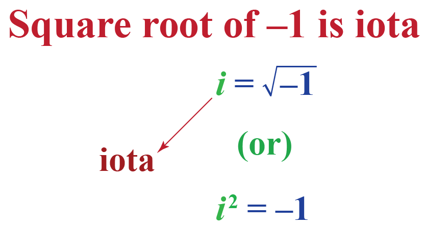 square root of negative 1 is iota: i equals square root negative 1; or i squared equals  minus 1