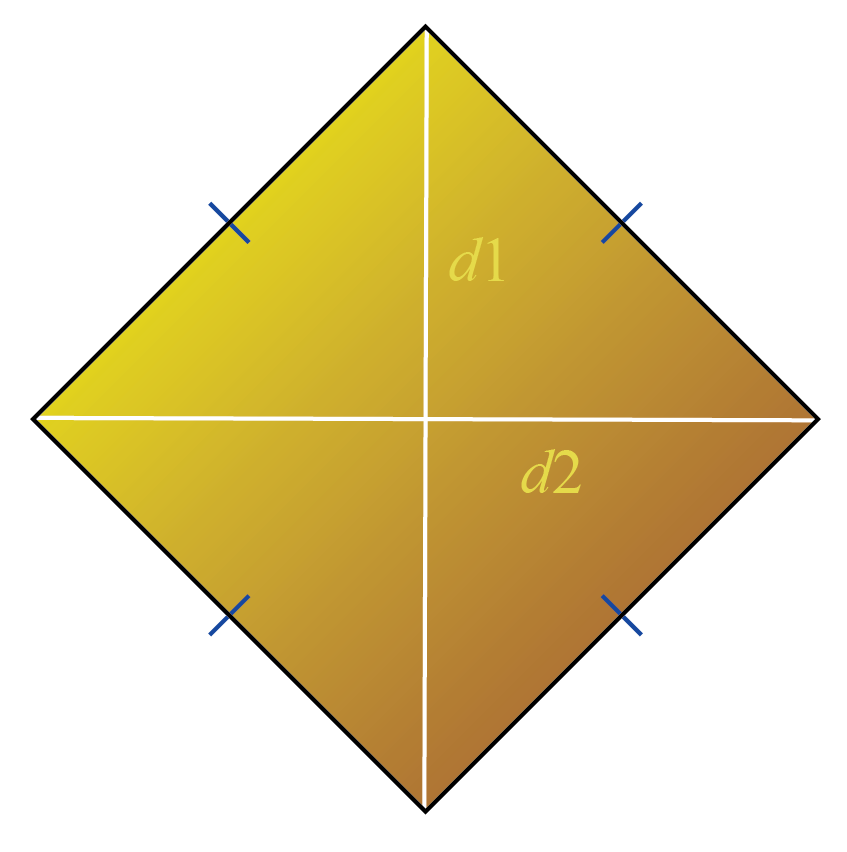 Areas of quadrilaterals: area of a rhombus formula