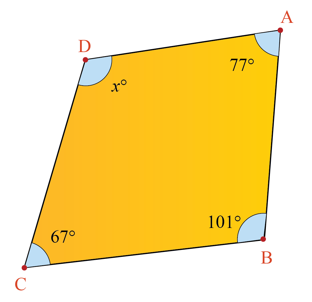 Quadrilateral example problem: finding unknown angle of a quadrilateral