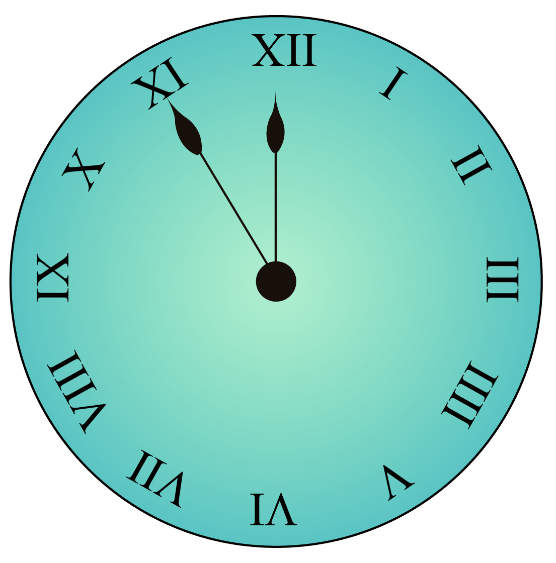 a clock with Roman numerals indicating the time