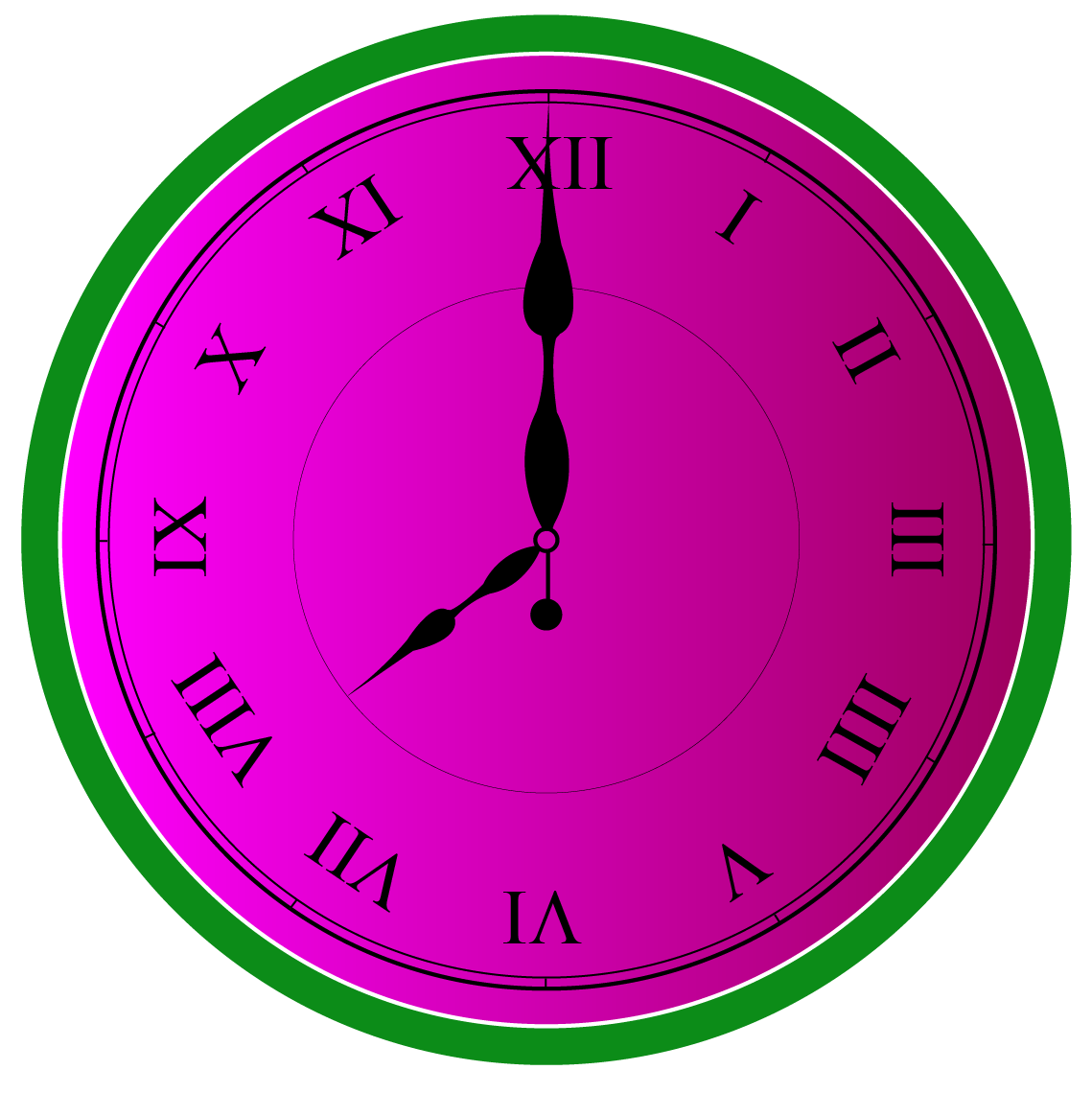 Roman Numerals: Clock showing the time 8 o clock