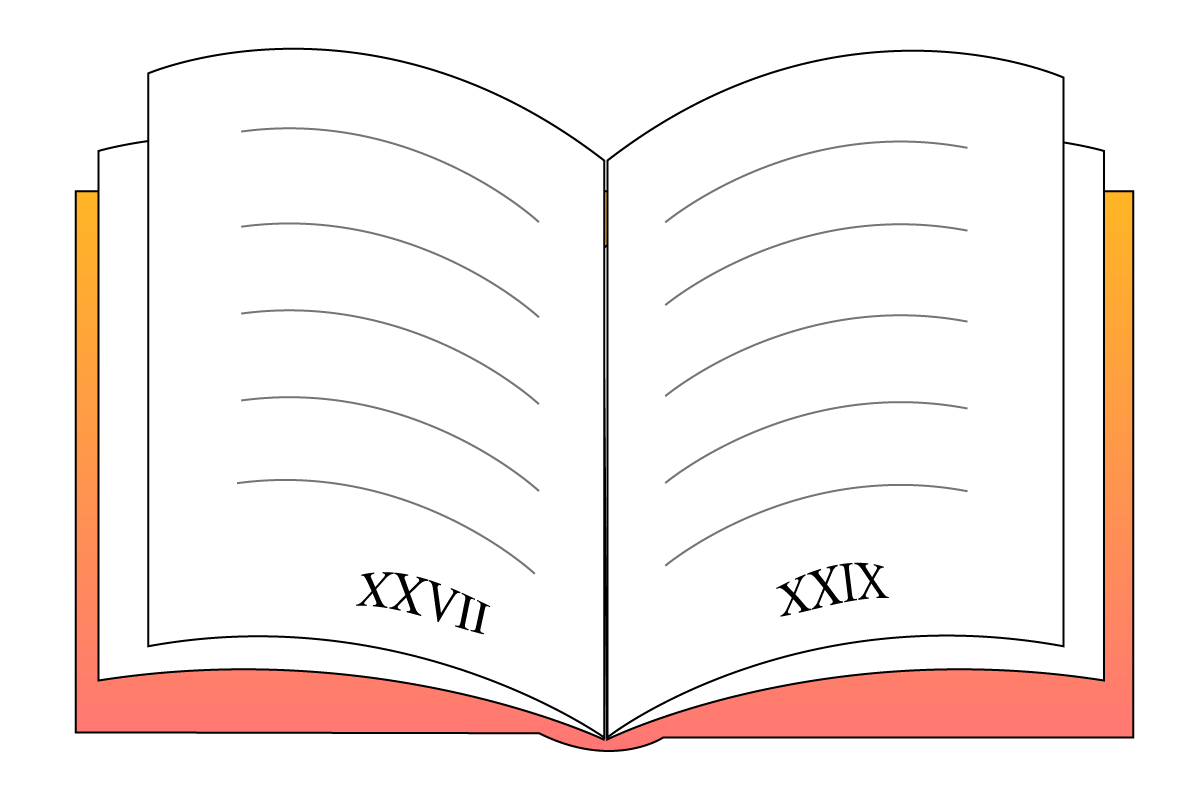 a book with Roman numerals at the bottom indicating the page numbers