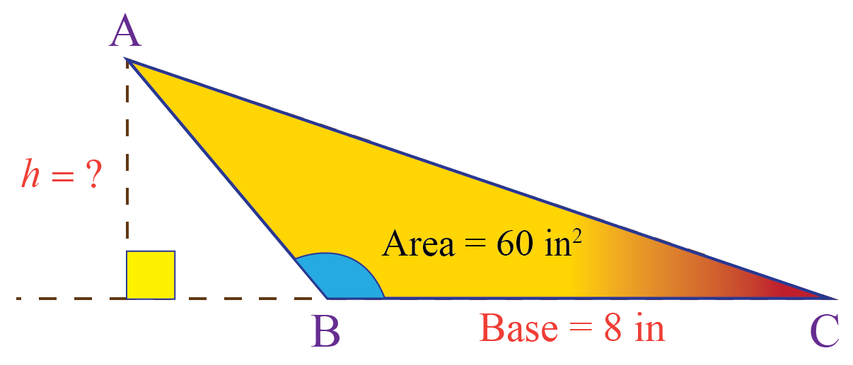 Area of an obtuse triangle is 60 square cm. Base is 8 cm.