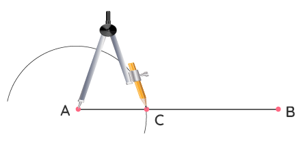 Step 2 of Constructing an Angle of 90 Degrees with a Compass