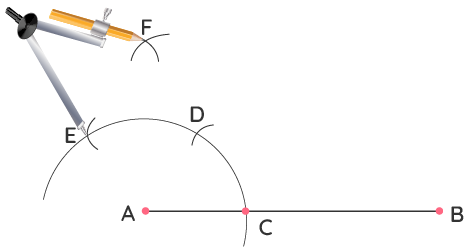 Step 5 of Constructing 90 Degrees Using a Compass