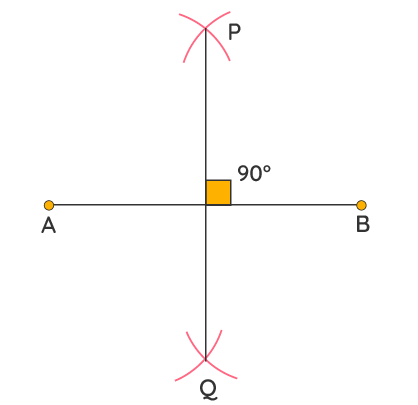 constructing perpendicular bisector to construct 90 degrees angle
