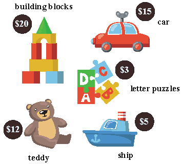 Various toys and their prices