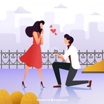 Wedding proposal illustration