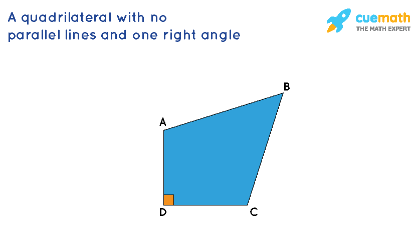 a quadrilateral with no parallel lines and at least one right angle.